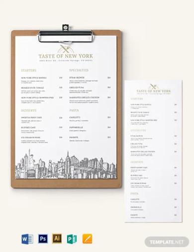 dinner menu board template