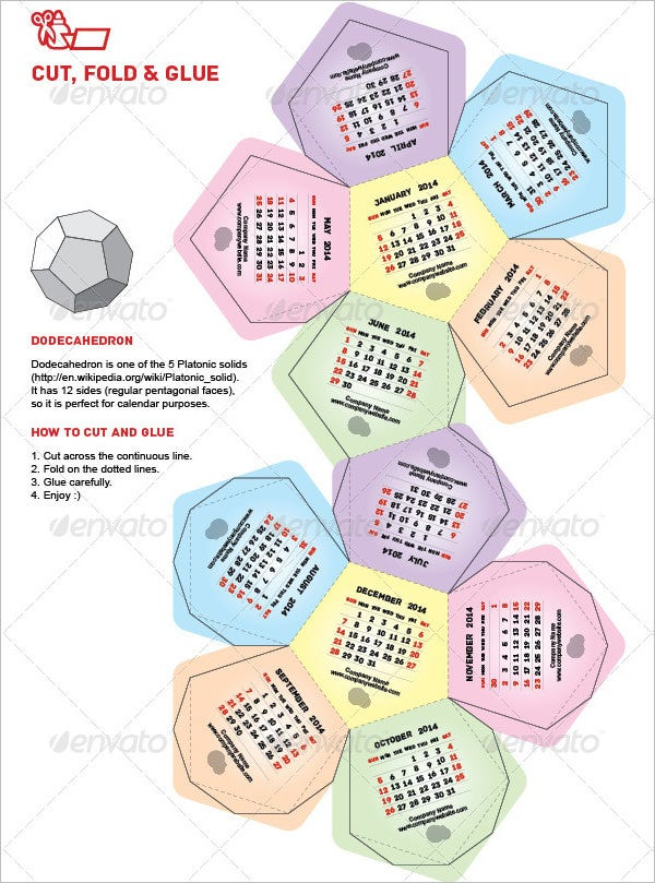 dodecahedron calendar template