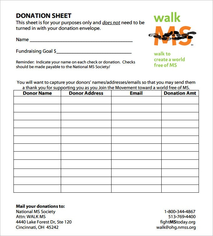 Donation Sheet Template 4 Free PDF Documents Download – Donations Template