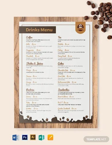 downloadable cafe coffee shop menu template