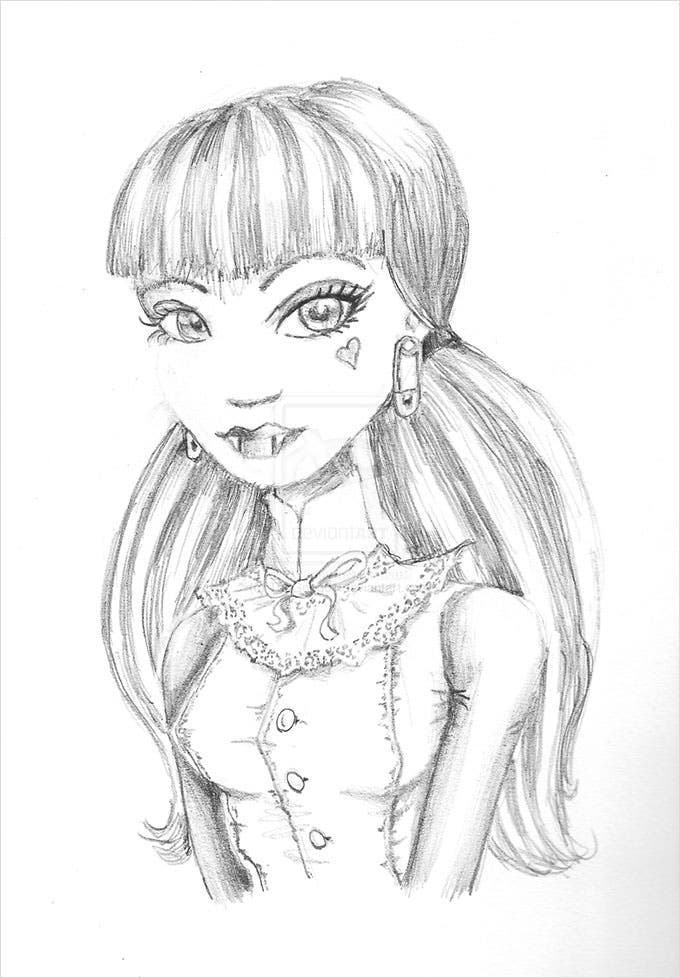 draculaura pencil sketch