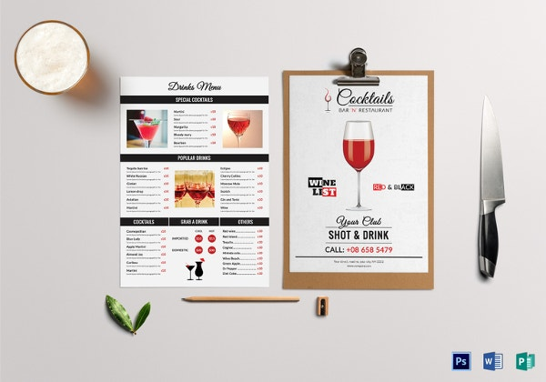 drinks menu template2