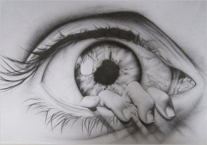drown eye pencil drawing
