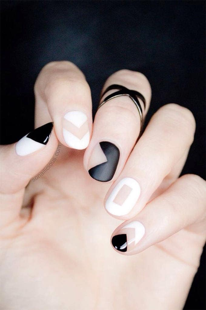 easy black and white nail design