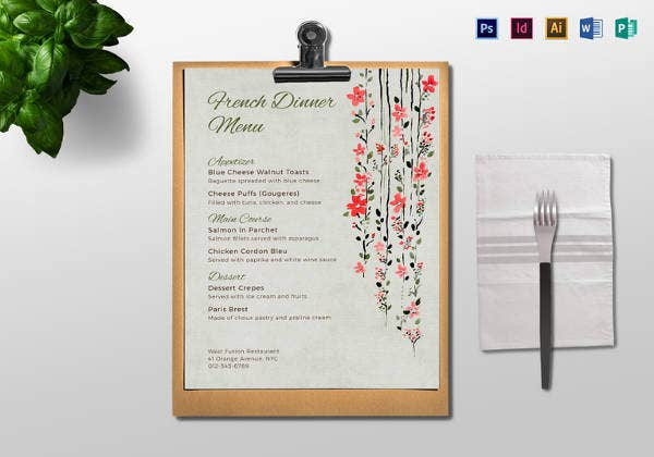easy to edit dinner menu template