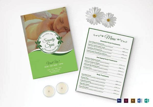 easy to edit spa menu template