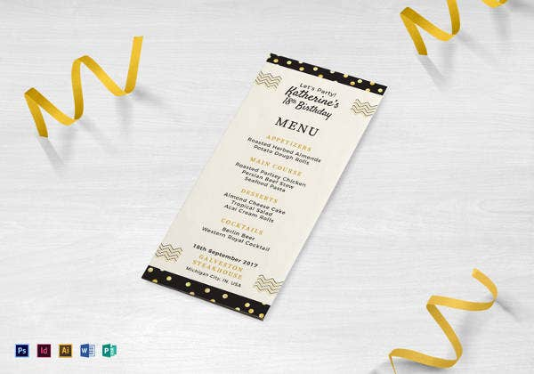 editable birthday dinner party menu template