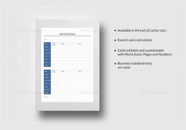 editable blank schedule template