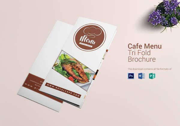 editable cafe tri fold brochure menu template