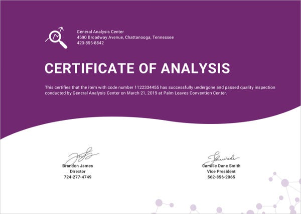 editable certificate of analysis template