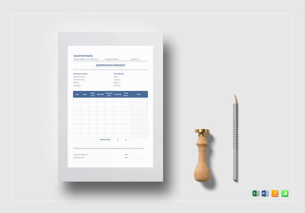 editable contractor timesheet template