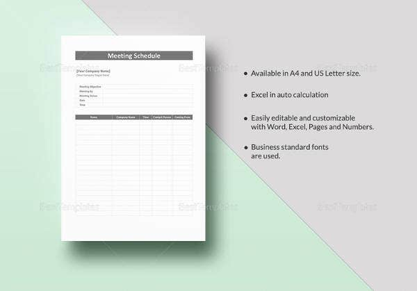 editable meeting schedule template in word