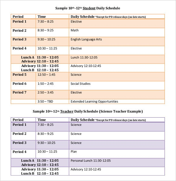 Daily schedule template 37 free word excel pdf for Daily schedule template for students