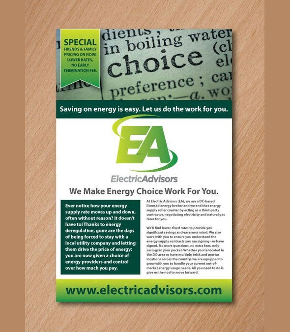 electric advisers postcard flyer template