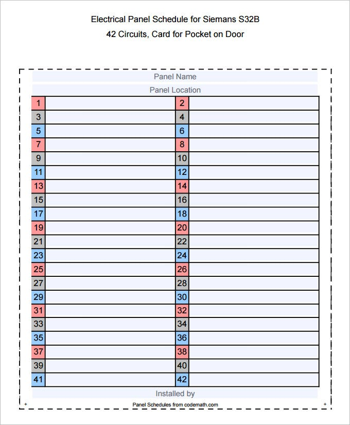 Electrical Panel Schedule Template Printable | Calendar Template 2016