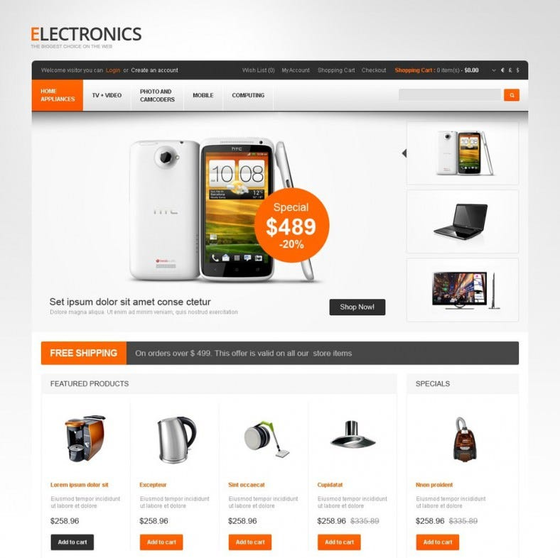 electronics for life opencart template 788x786