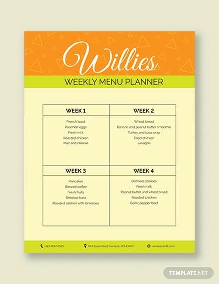 elegant menu planner template