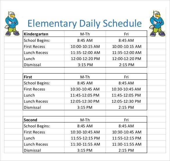 Elementary Class Schedule Template  BesikEightyCo