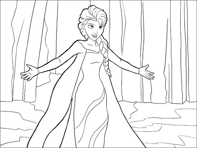 just download this elsa frozen coloring page online and give it the colors of your imagination