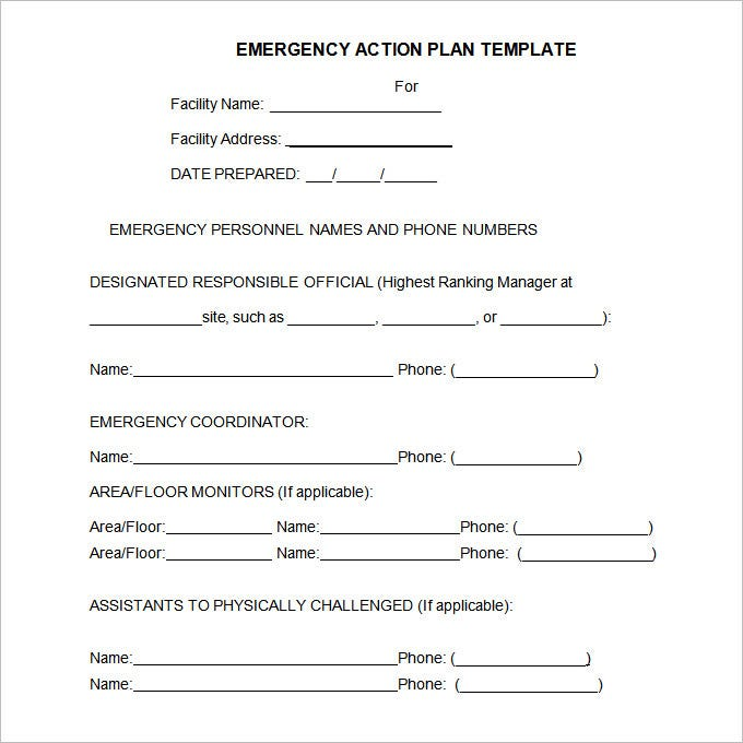 Emergency Action Plan Template   Free WordExcel Pdf Format