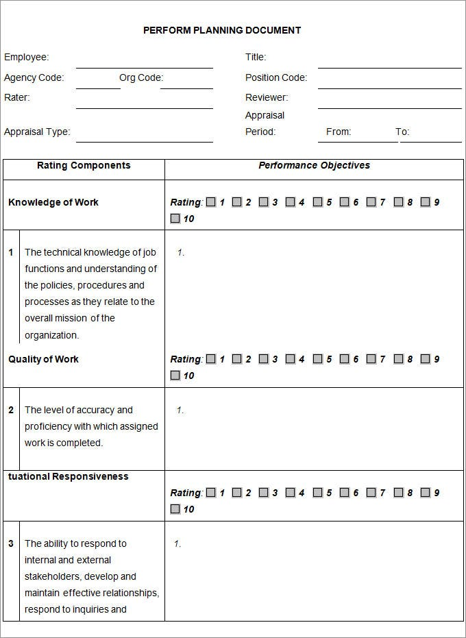 employee perform planning document template1