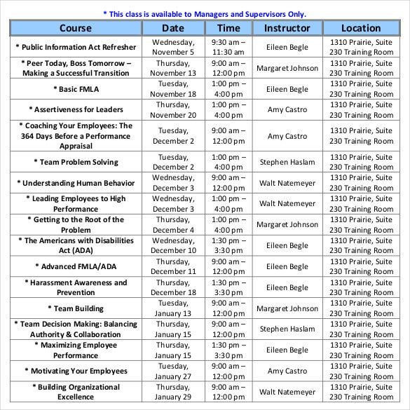 employee-training-class-schedule