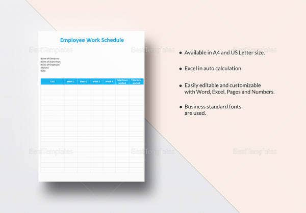 employee work schedule template in word