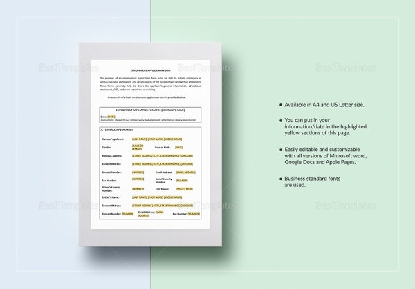 employment-application-form-template