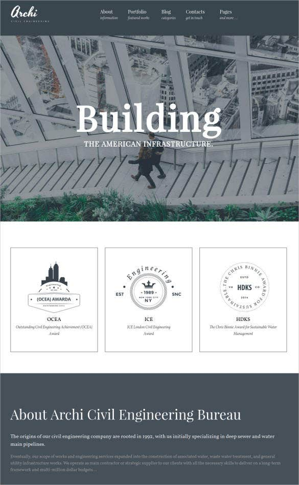 engineering architecture website wordpress theme