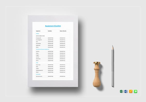 equipment checklist template in word