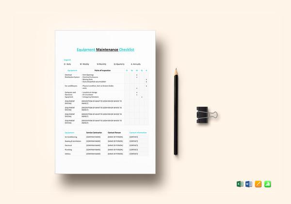 equipment maintenance checklist template