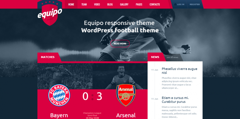 Equipo Football Responsive WordPress Theme