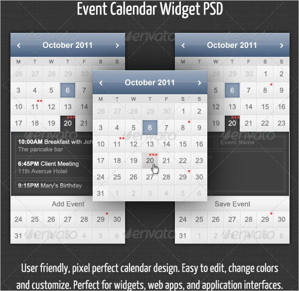 event calendar widget template