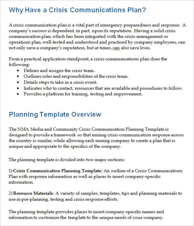 example crisis communication plan template