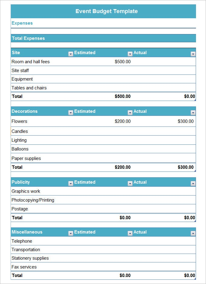 Event Budget Template – 3+ Free Word, Excel, Pdf Documents