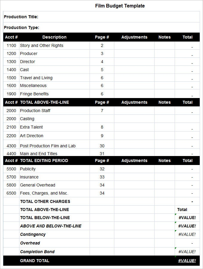 Film Budget Template   Free Pdf Excel Downloads Download  Free