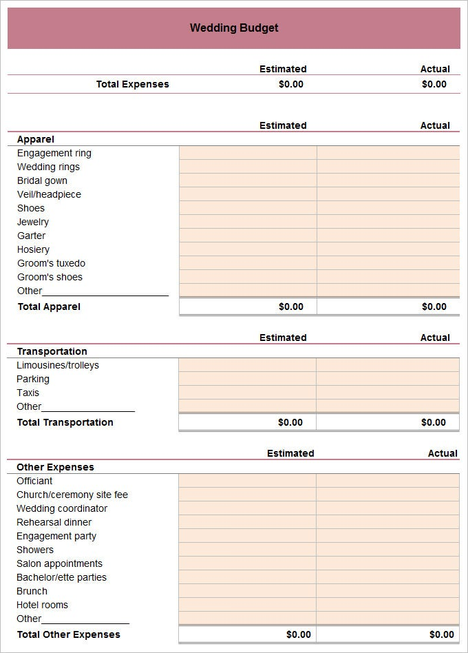 Example Wedding Budget Template