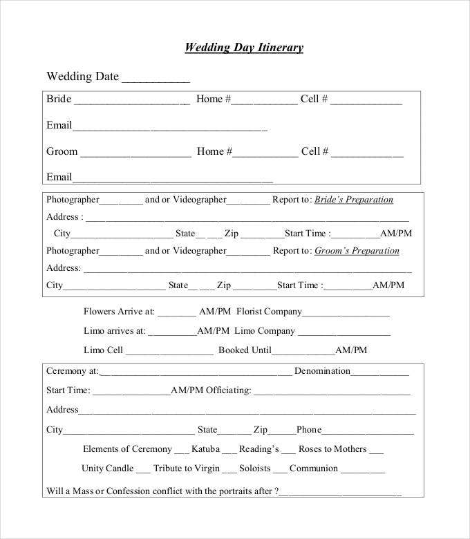 Wedding Day Agenda Template Vosvetenet – Wedding Agenda Template
