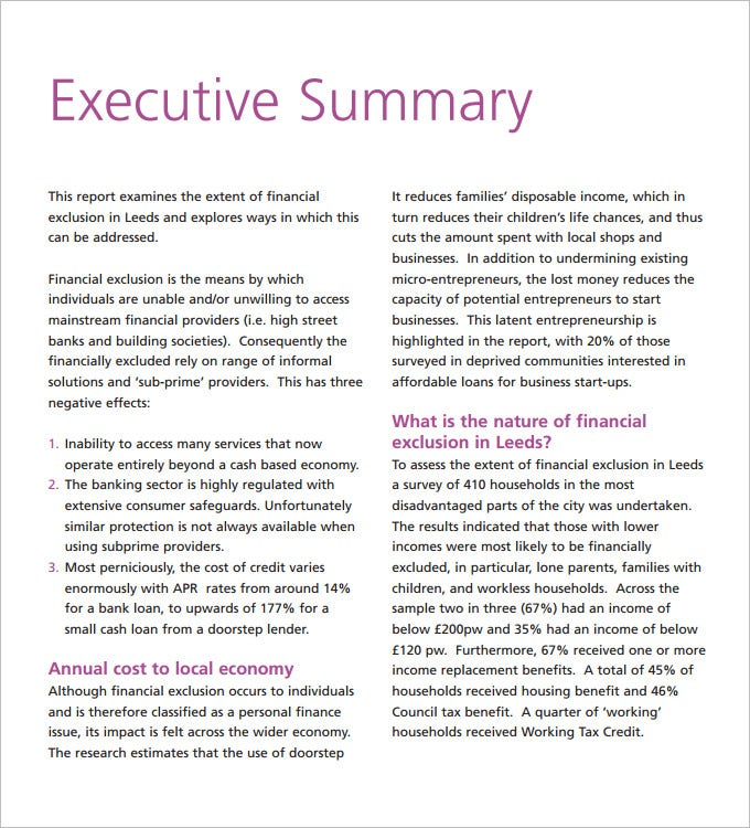 Purpose Of The Executive Reports
