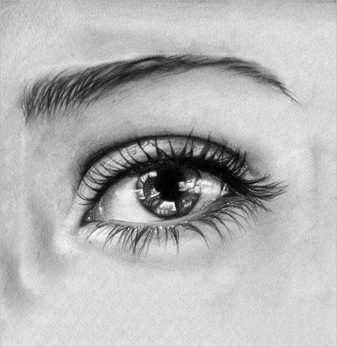 expressive eye pencil drawing 1