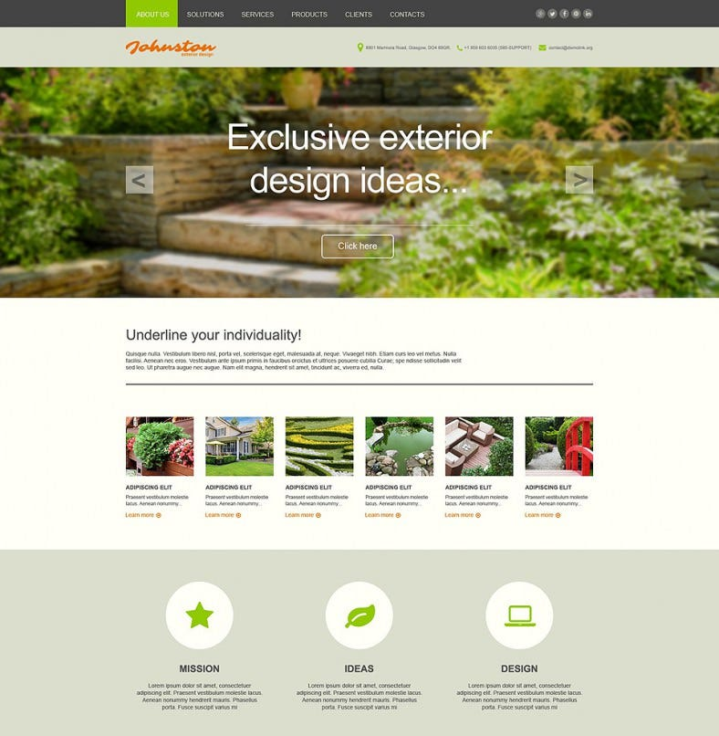 Static Exterior Design Muse Template