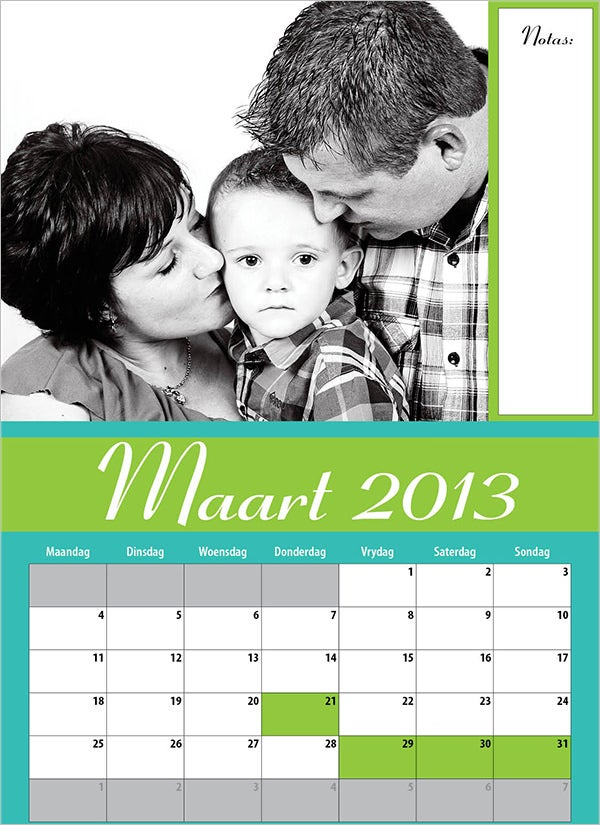 family calender template 4