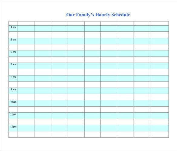 Hourly Schedule Template Excel  calendar template word