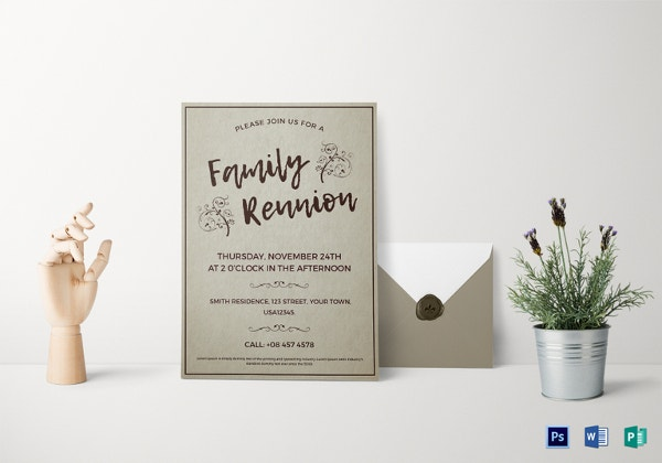 coral state family reunion invitation template