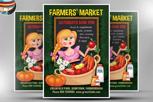 farmer market campaign flyer template