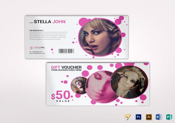 fashion gift voucher illustrator template