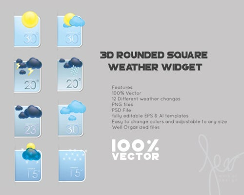 flat vector weather icons