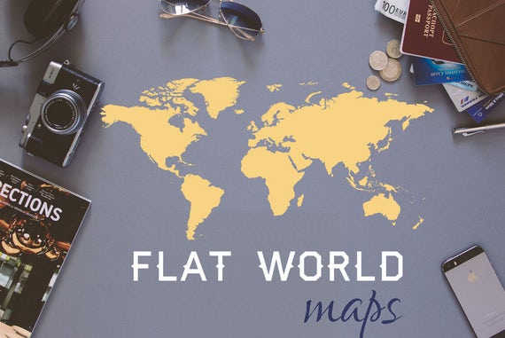flat world map poster