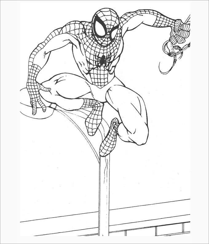 flying spiderman coloring page