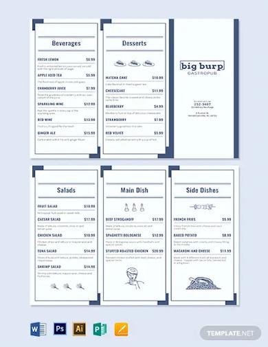 food trifold menu template